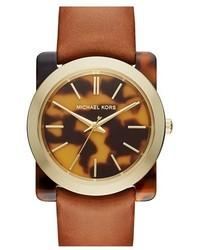Reloj de cuero marrón de MICHAEL Michael Kors