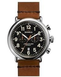 Reloj de cuero marrón de Shinola