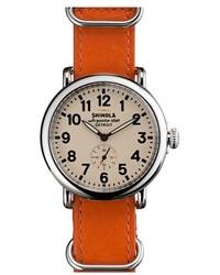 Reloj de cuero naranja