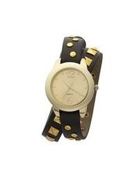 Reloj de Cuero Negro y Dorado