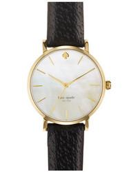 Reloj de Cuero Negro y Dorado de Kate Spade