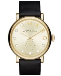 Reloj de Cuero Negro y Dorado de Marc Jacobs