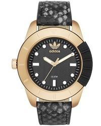 Reloj de cuero negro de adidas