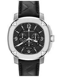 Reloj de cuero negro de Burberry