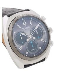 Reloj de cuero negro de Bulova