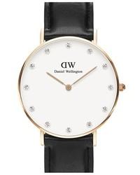 Reloj de cuero negro de Daniel Wellington