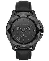 Reloj de cuero negro de Karl Lagerfeld
