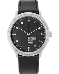 Reloj de cuero negro de Mondaine