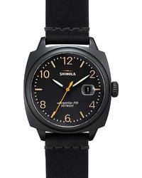 Reloj de cuero negro de Shinola