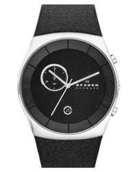 Reloj de cuero negro de Skagen