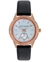 Reloj de cuero negro de Ted Baker