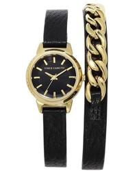 Reloj de cuero negro de Vince Camuto