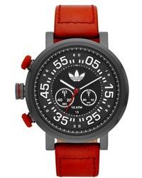 Reloj de cuero rojo de adidas