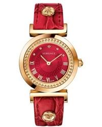 Reloj de cuero rojo de Versace