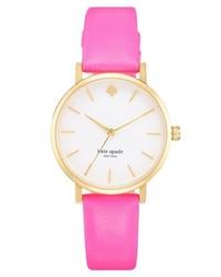 Reloj de cuero rosa de kate spade new york