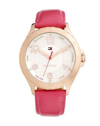 Reloj de cuero rosa de Tommy Hilfiger