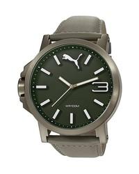 Reloj de cuero verde oliva de Puma