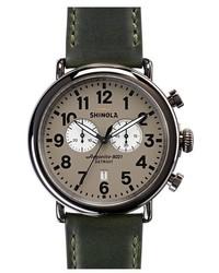 Reloj de cuero verde oscuro