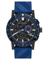 Reloj de goma azul marino de Burberry