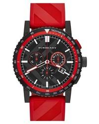 Reloj de goma rojo de Burberry