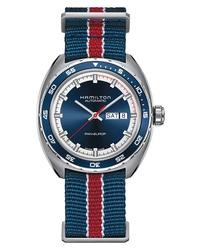 Reloj de lona de rayas horizontales azul marino