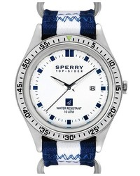 Reloj de lona de rayas verticales en azul marino y blanco de Sperry