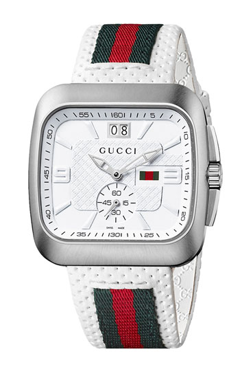 f4acad87eed6 ... Reloj de nylon de rayas horizontales en verde y rojo de Gucci