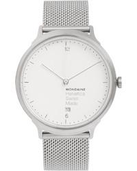Reloj plateado de Mondaine