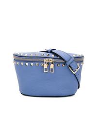 Riñonera de cuero azul de Valentino