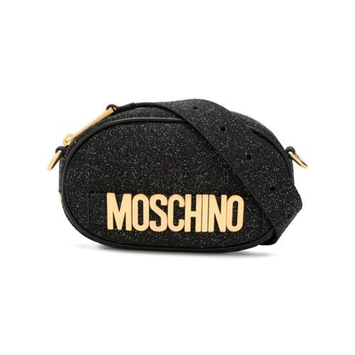 Riñonera de cuero negra de Moschino