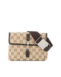 Riñonera de lona marrón claro de Gucci Vintage