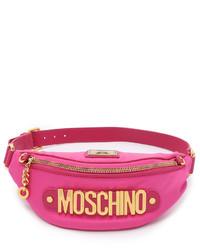 Riñonera de lona rosa de Moschino