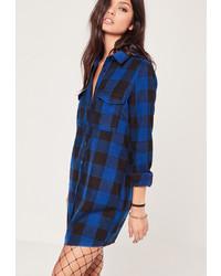 Robe chemise à carreaux bleu marine