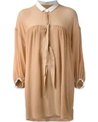 Robe chemise brune claire Chloé