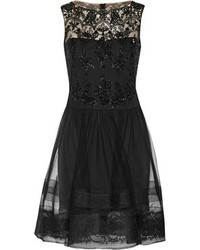 Robe de cocktail de tulle noire Notte by Marchesa