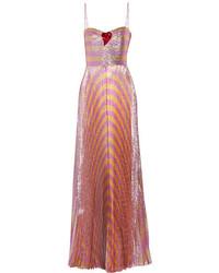 Robe de soirée à rayures horizontales fuchsia Gucci