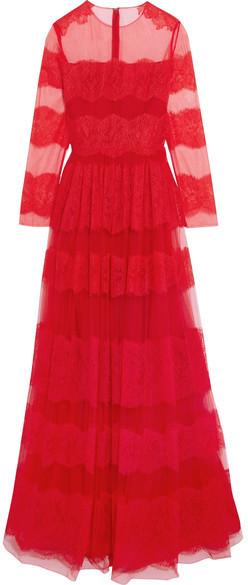 Robe rouge dentelle valentino