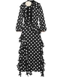 Robe de soirée en soie imprimée noire Gucci