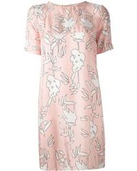 Robe droite à fleurs rose Marni