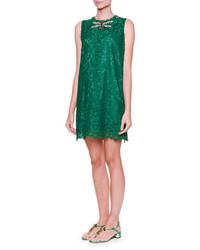 Robe droite en dentelle ornée verte Dolce & Gabbana