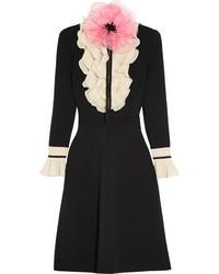 Robe en laine ornée noire Gucci