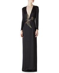 Robe en satin brodée noire Gucci
