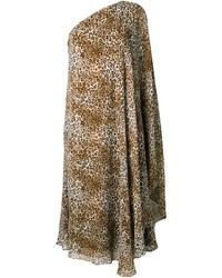 Robe en soie imprimée brune claire Saint Laurent