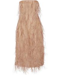 Robe en soie ornée brune claire Jason Wu