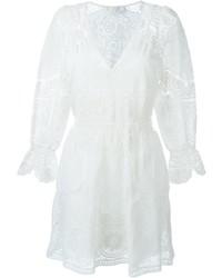 Robe évasée brodée blanche Chloé