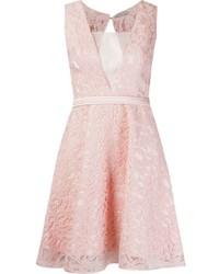 Robe évasée en dentelle rose