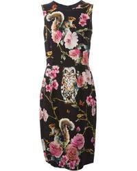 Robe fourreau à fleurs noire