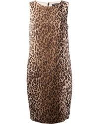 Robe fourreau en laine imprimée léopard brune claire Dolce & Gabbana