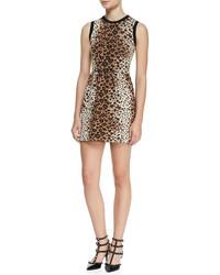 Robe fourreau en laine imprimée léopard brune claire RED Valentino