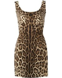 Robe fourreau imprimée léopard brune Dolce & Gabbana